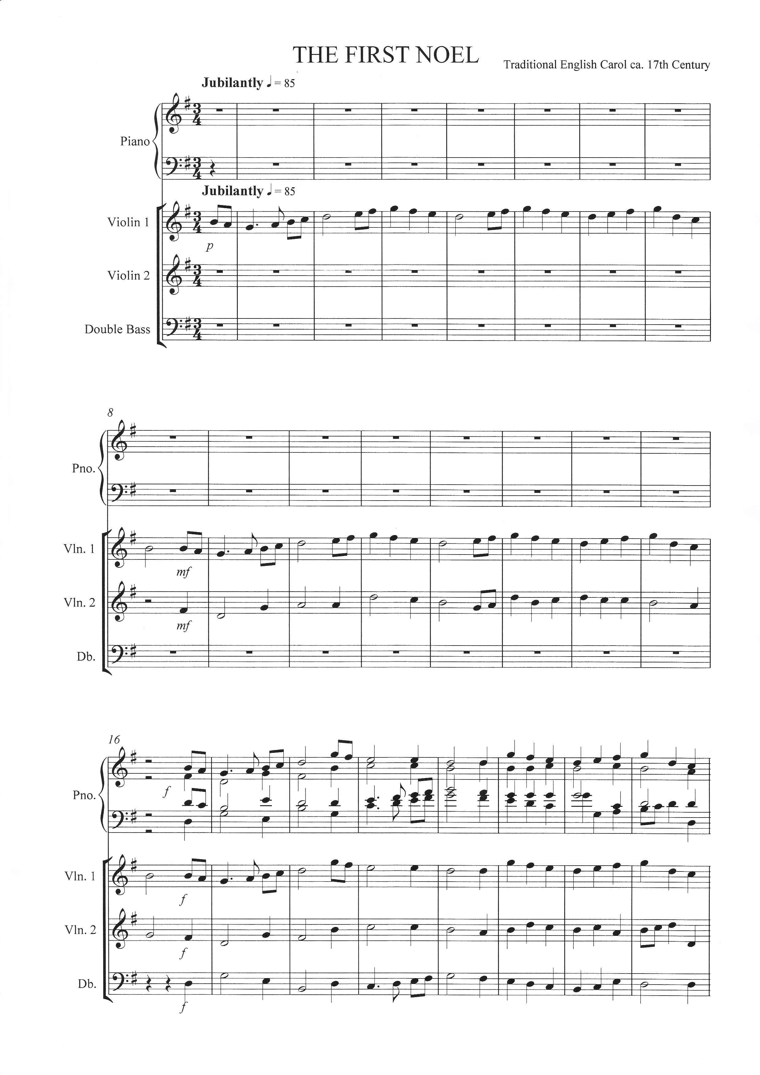 The First Noel for 2 violins, double bass and piano | LDS Music and ...
