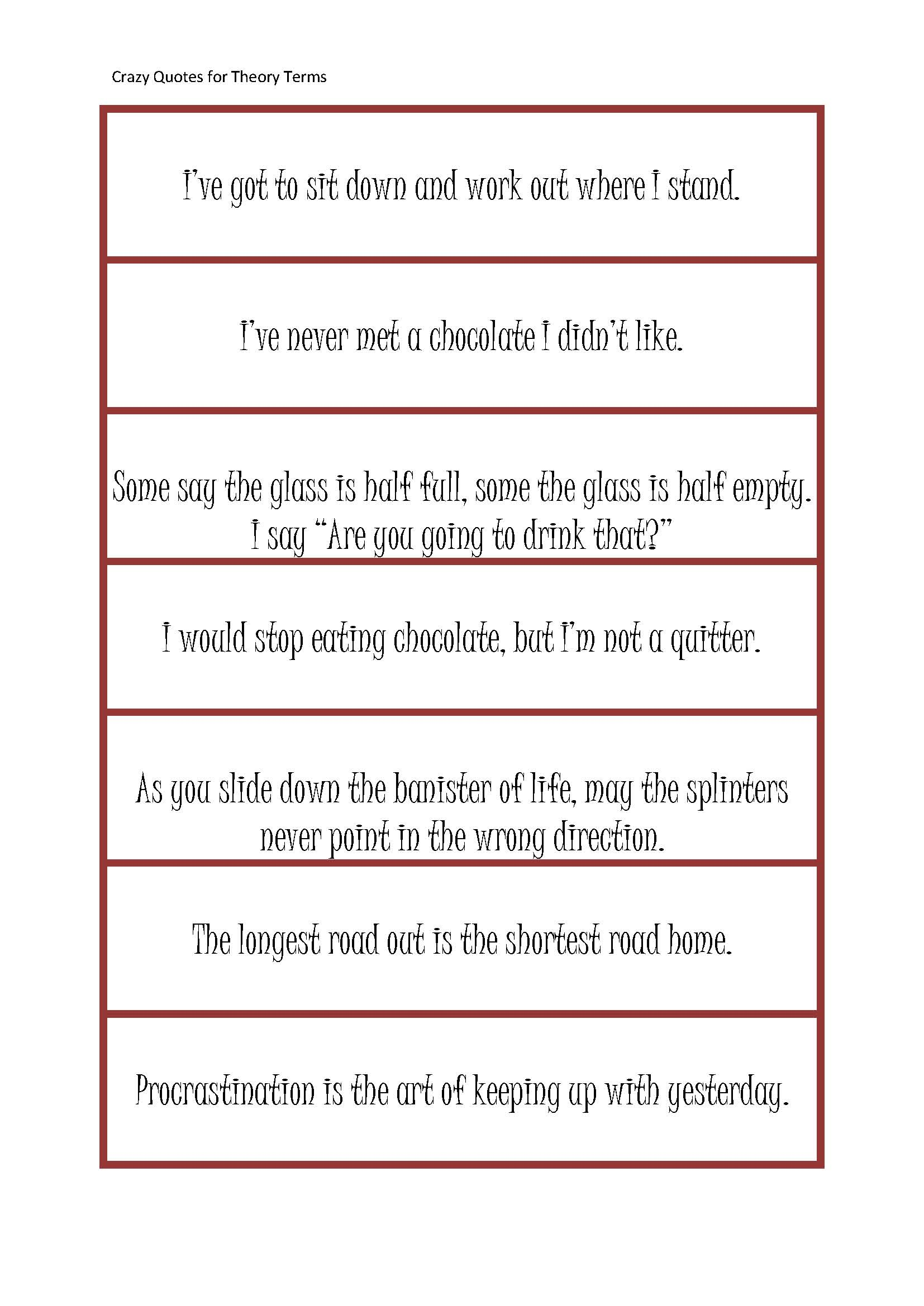 First Grade Theory Terms Game Crazy Quotes For Theory Terms Page 1