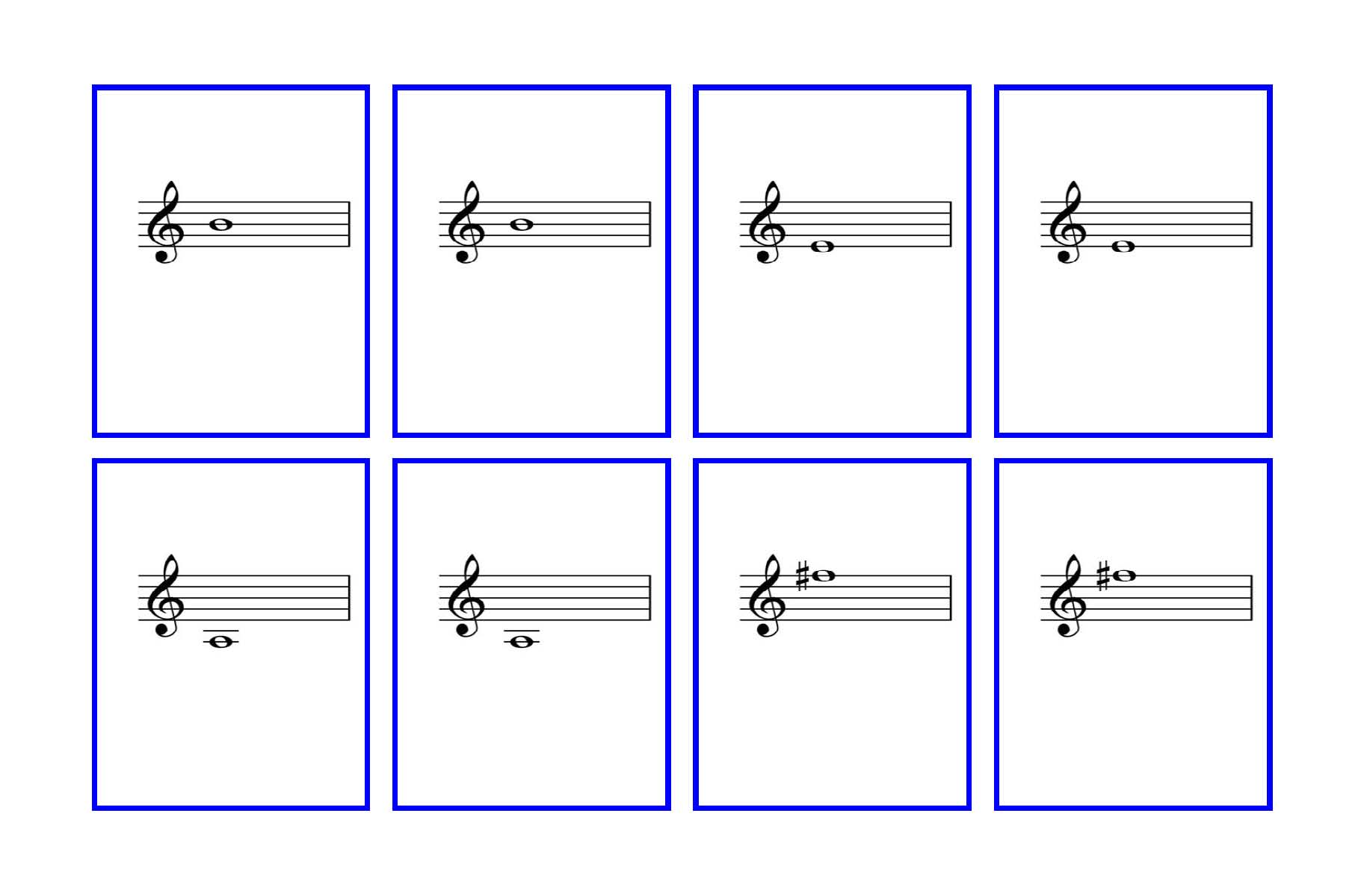 Violin Flash Cards First Finger Notes Denley Music