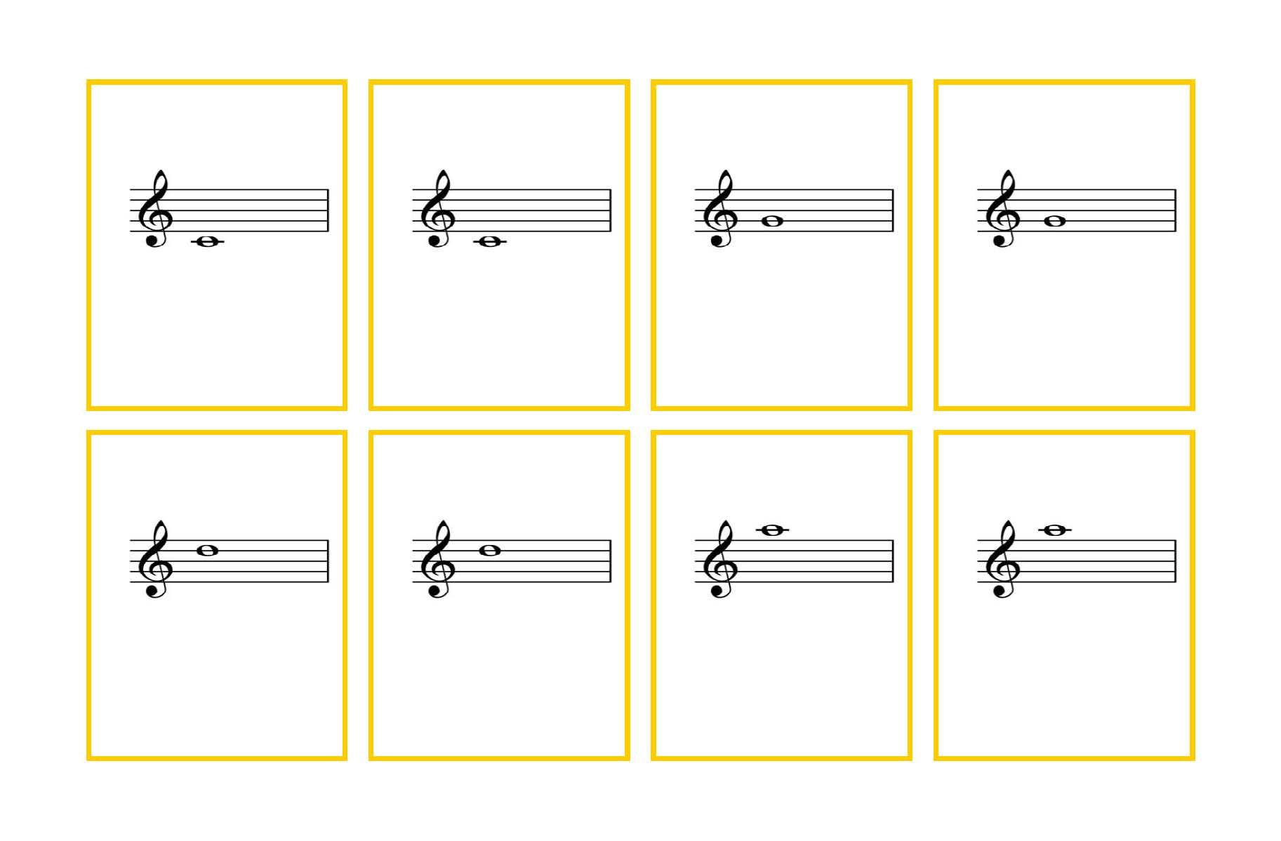Striking image in piano note flashcards printable